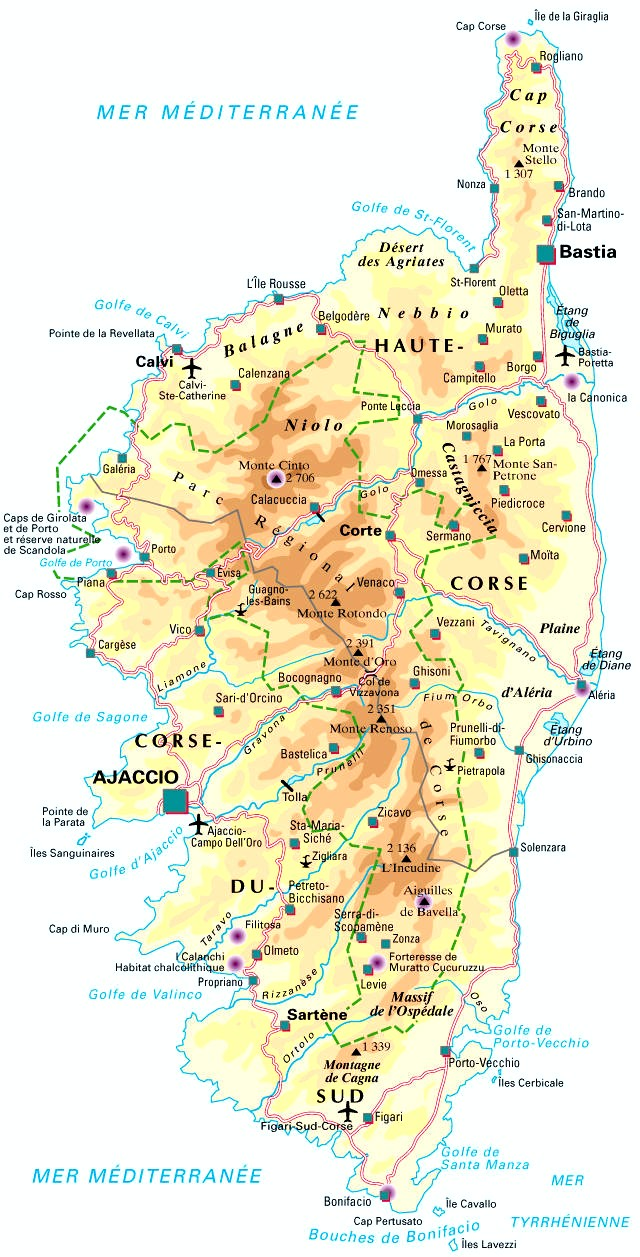 Carte de corse 2a voyages cartes for B b france carte