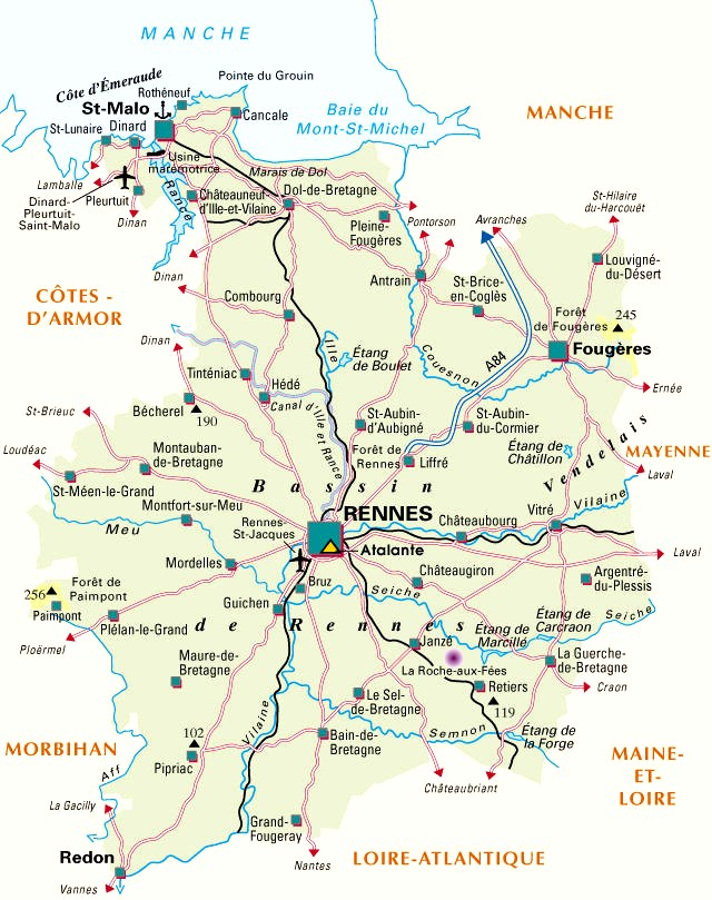 ille et vilaine france map - Image