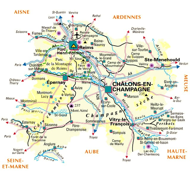 carte plan du departement marne 51