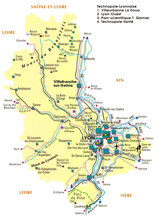 departement du rhone carte -