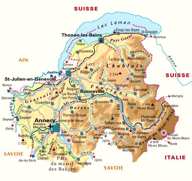 carte plan du departement haute savoie 74